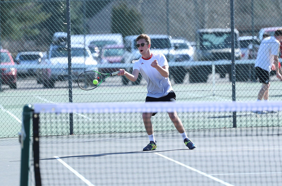 Christian Story hits a forehand on Wednesday.