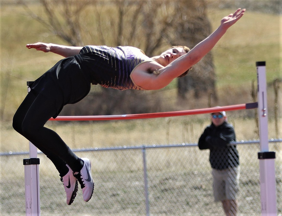 Polson sophomore Jarrett Wilson competed in several events, including the high jump, at the Gene Hughes Invitational in Hamilton. Wilson won the 300 hurdles. (Courtesy of Bob Gunderson)