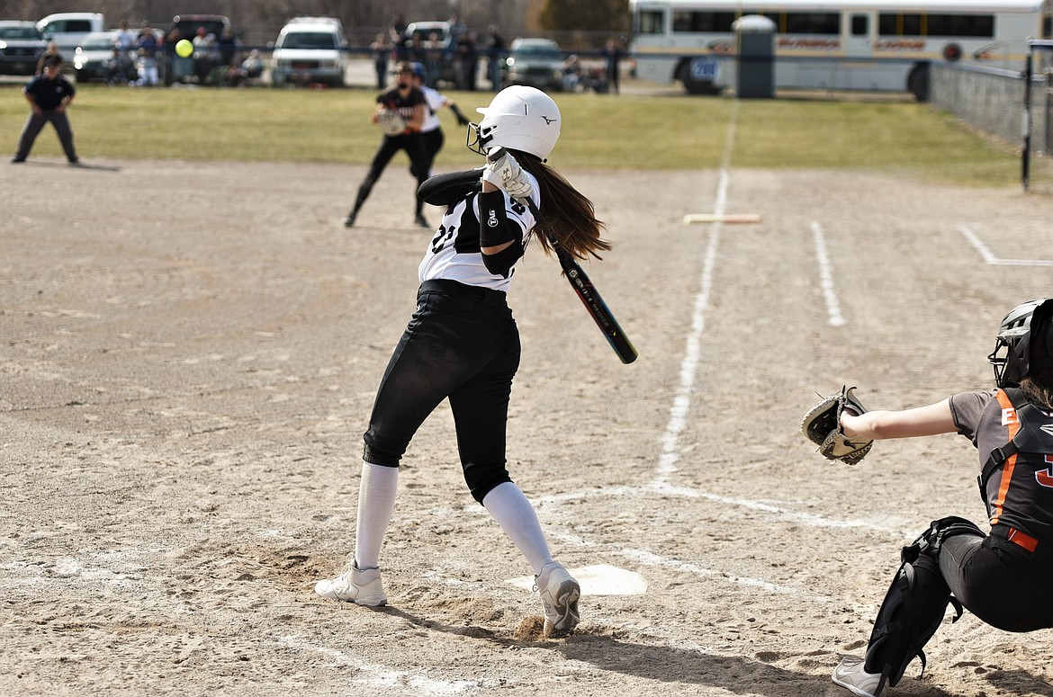 Kooper Page hits a line-drive single to right field against Eureka. (Scot Heisel/Lake County Leader)