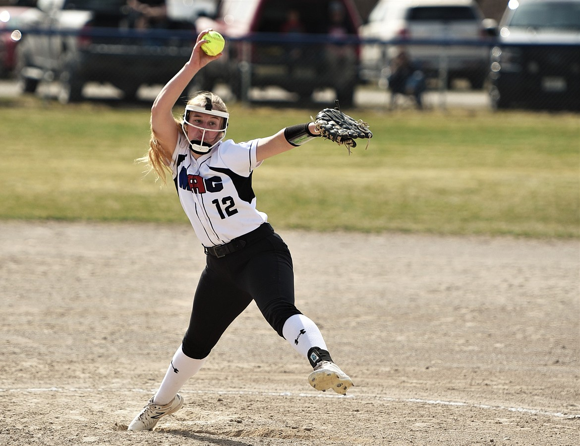 Liev Smith fires off a pitch against Eureka. (Scot Heisel/Lake County Leader)