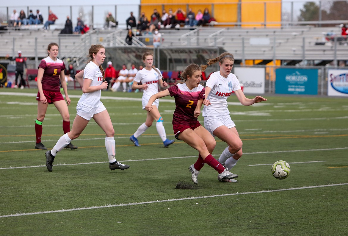Moses Lake's Natalie Bunch fires in a goal to even the game at 2-2 versus Eastmont on Saturday afternoon at Lions Field.