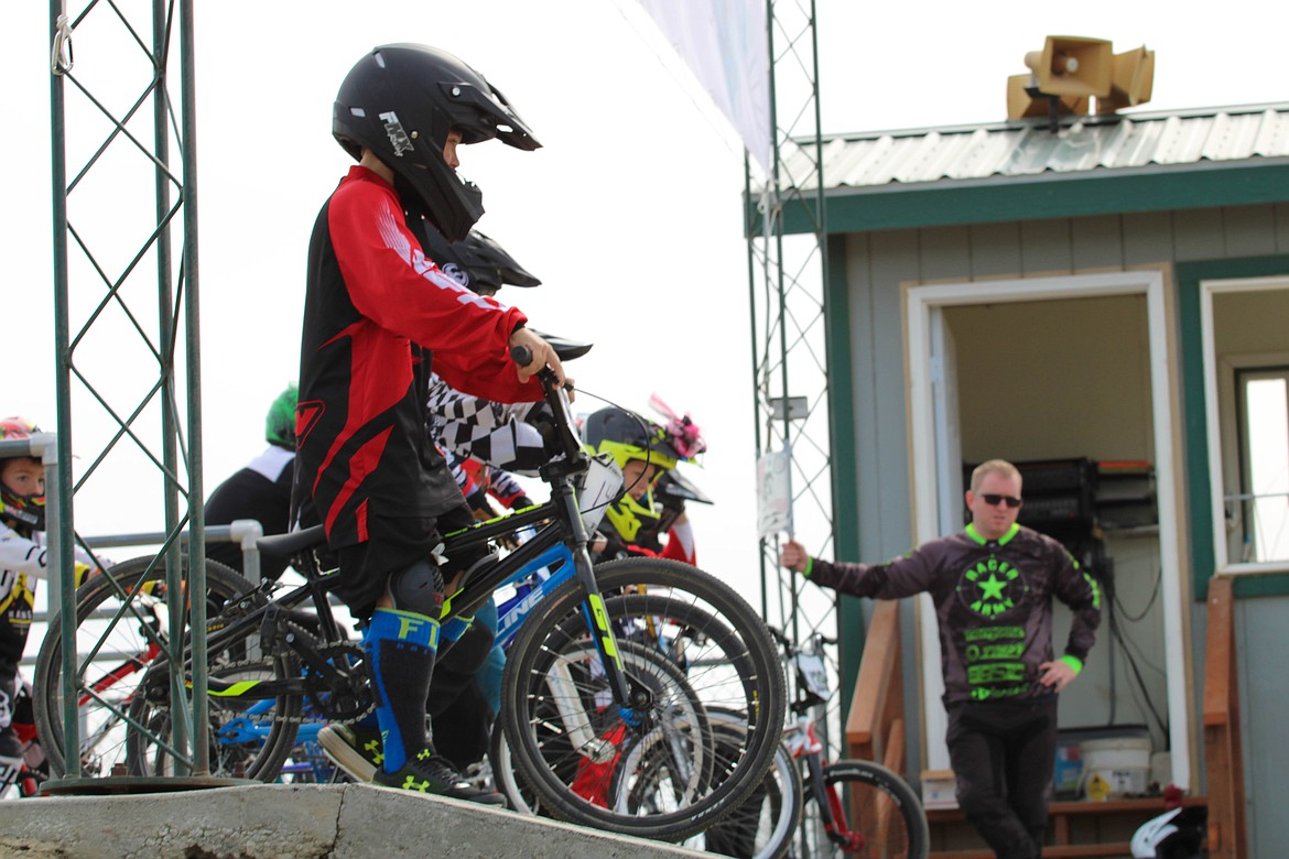 Racers line up before the novice BMX race Saturday morning in Moses Lake.