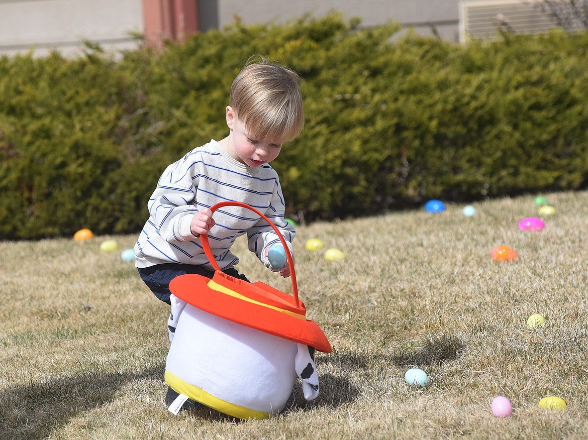 Linden Pierce, 2, carefully places an egg in his Easter basket Saturday during an Easter egg hunt hosted by The Springs at Whitefish. (Heidi Desch/Whitefish Pilot)