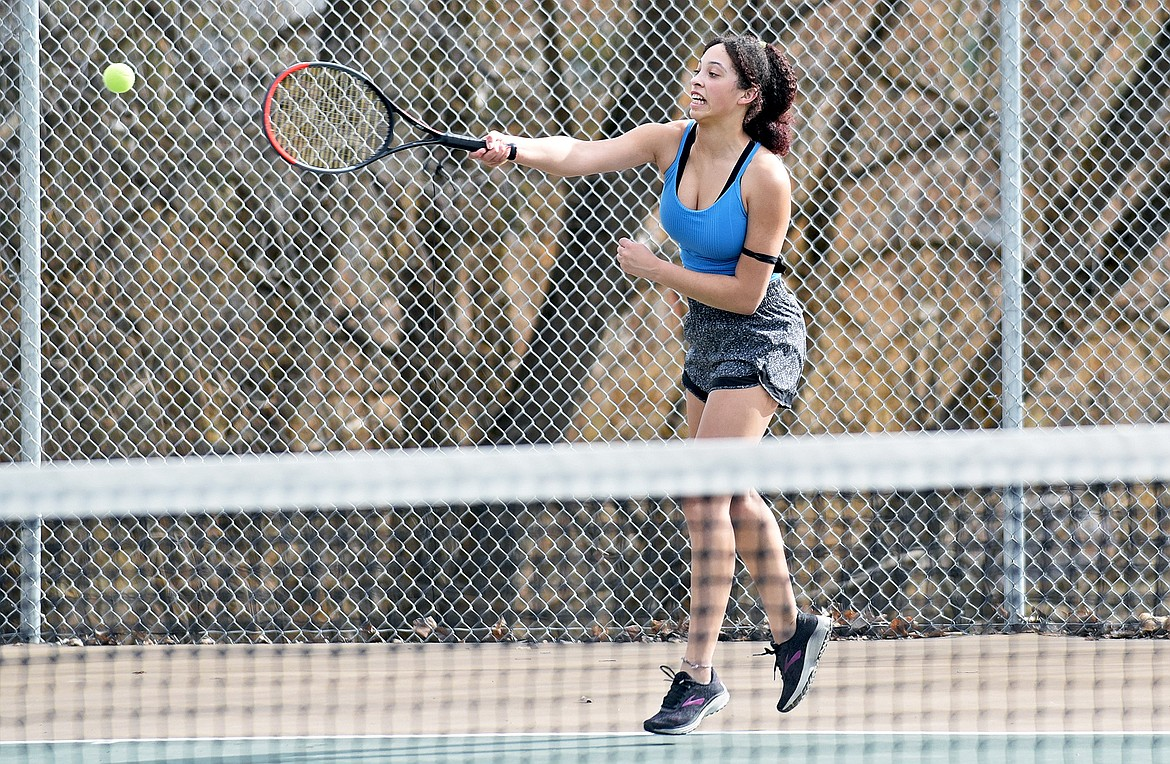 Whitefish junior Emma Trieweiler hits a shot during the high school girls tennis practice on Thursday. (Whitney England/Whitefish Pilot)