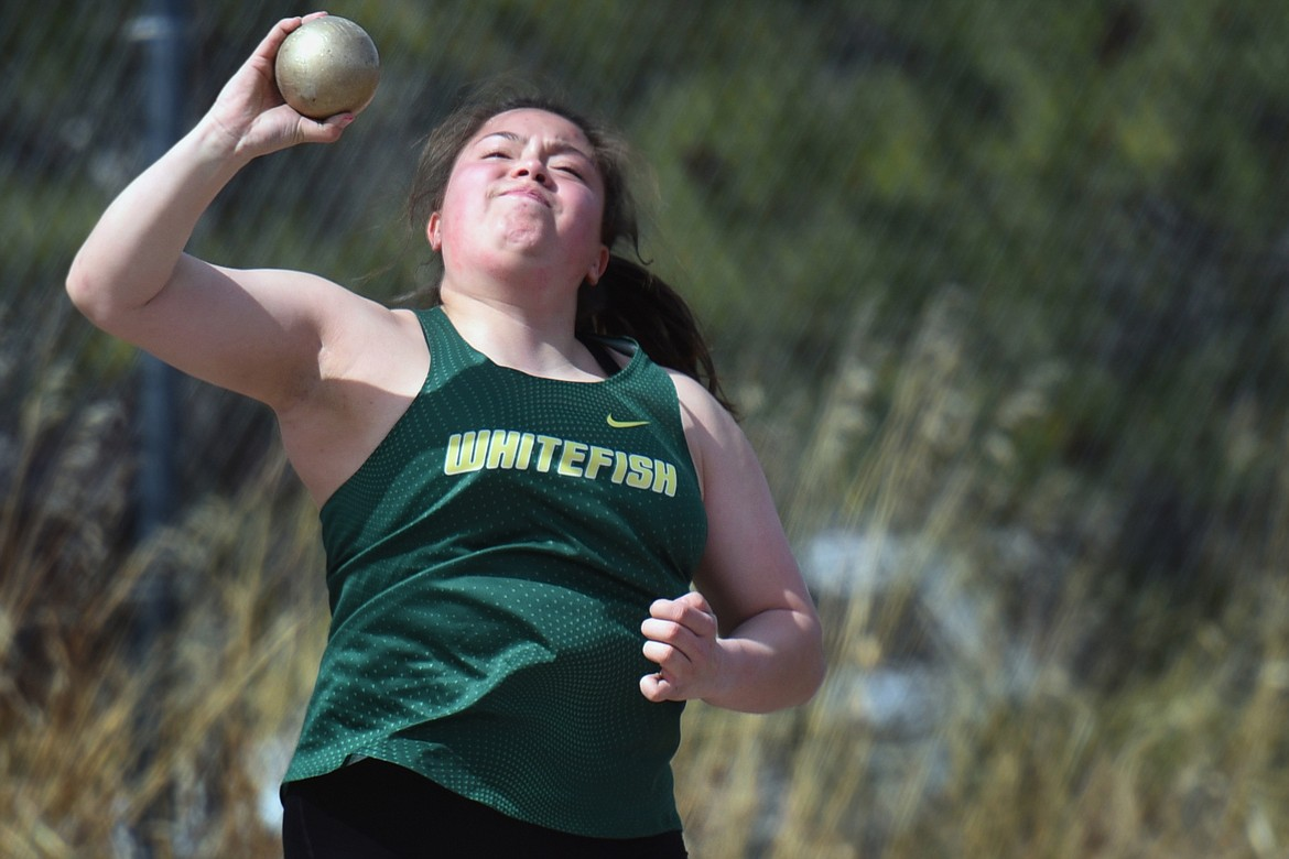 Bulldog Jenny Patton competes in shot put at the Bigfork Invite track meet in Bigfork on Saturday. (Jeremy Weber/Daily Inter Lake)