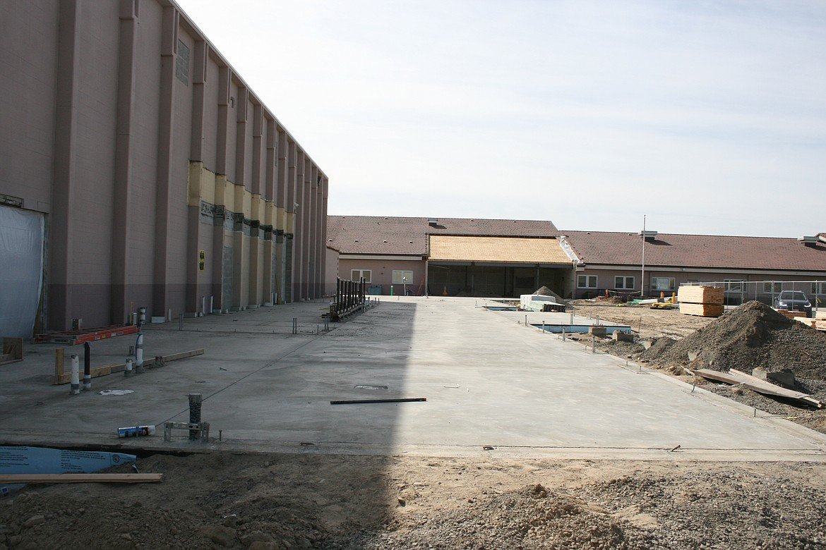 The foundation has been poured for the new entrance to the Royal High School gym.