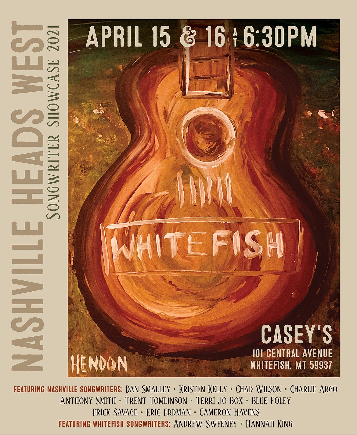 Nashville Heads West songwriter showcase will perform at Casey's on April 15-16. (Courtesy photo)