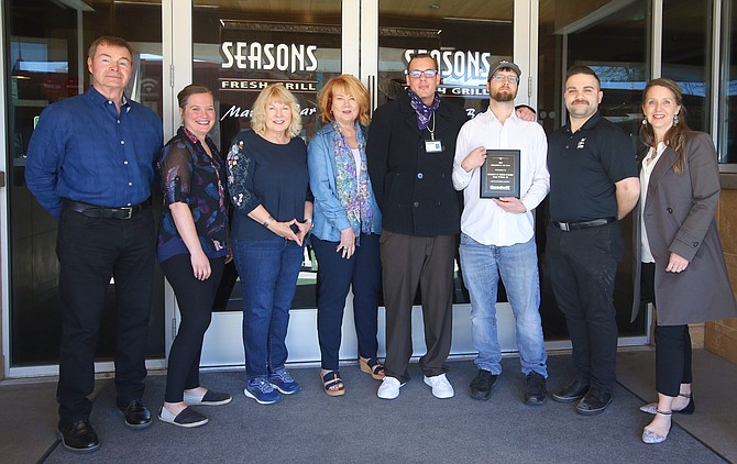 """From right: Co-owner Donald """"Pepper"""" Smock, assistant manager Amber Laura Young, Midge Smock, co-owner Patricia Krug, Sean Devlin, Kyle, general manager Daniel Bentley and Heather Alexander."""