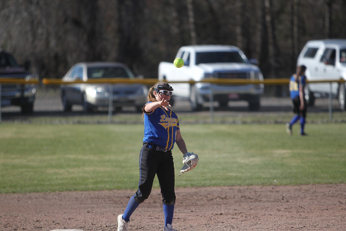 Paislee MacDonald lobs a ball from second base during the Lady Loggers April 20 game against Columbia Falls. (Will Langhorne/The Western News)
