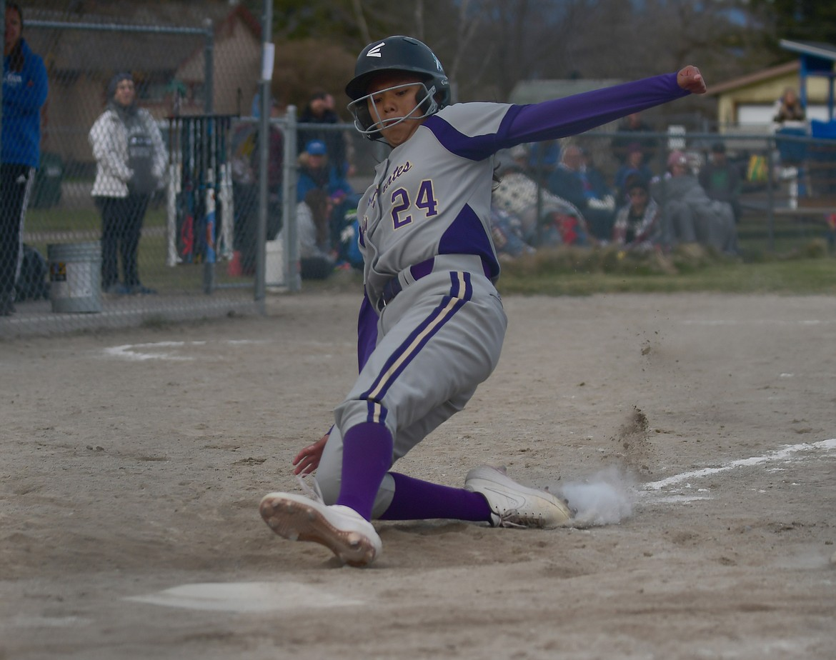 Turquiose Pierre comes home during the Lady Pirates' win over Columbia Falls. (Teresa Byrd/Hungry Horse News)