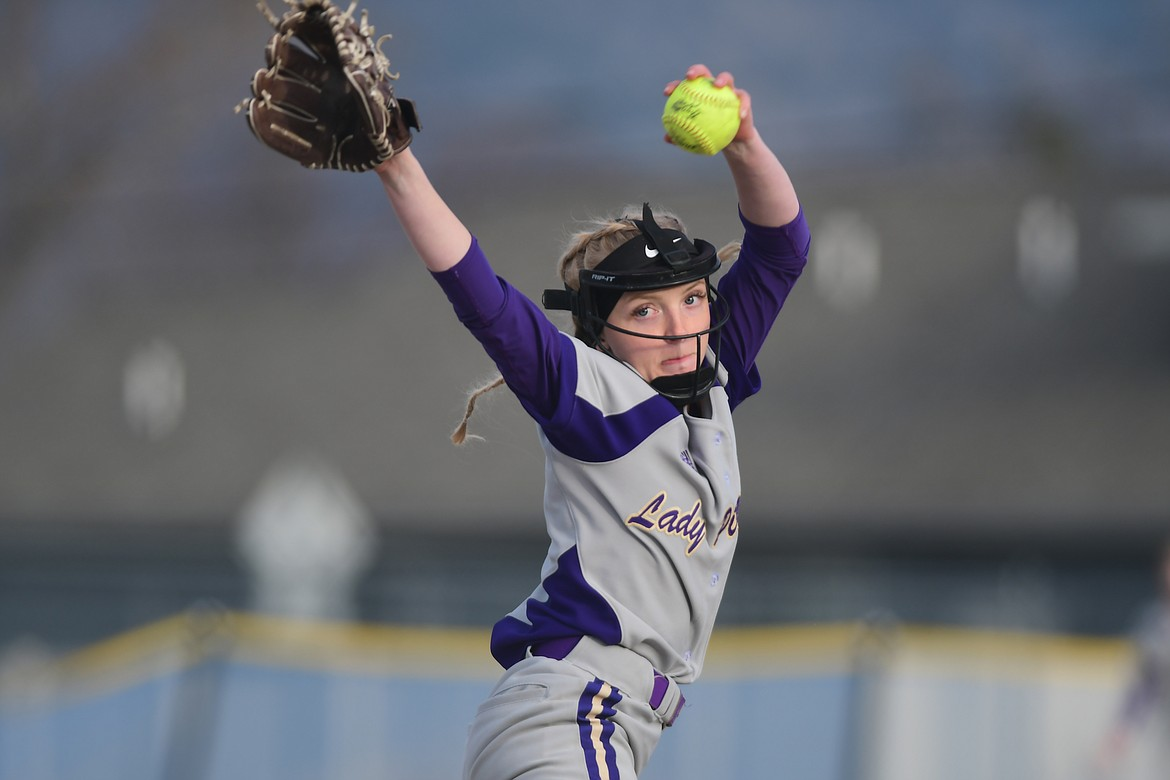 Katelyne Druyvestein winds up for a pitch against Columbia Falls. (Teresa Byrd/Hungry Horse News)