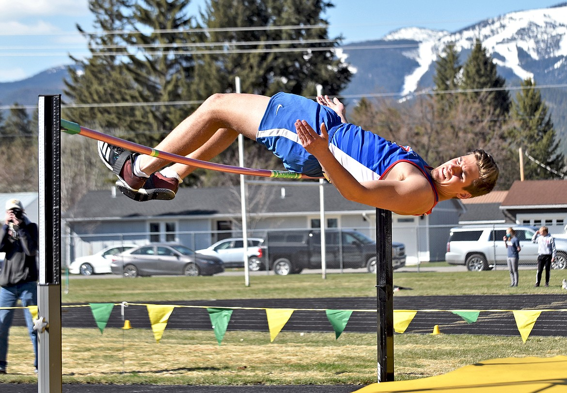 Cormac Benn cleared 5 feet, 10 inches to finish second in the high jump at Bigfork last week. (Whitney England for the Eagle)