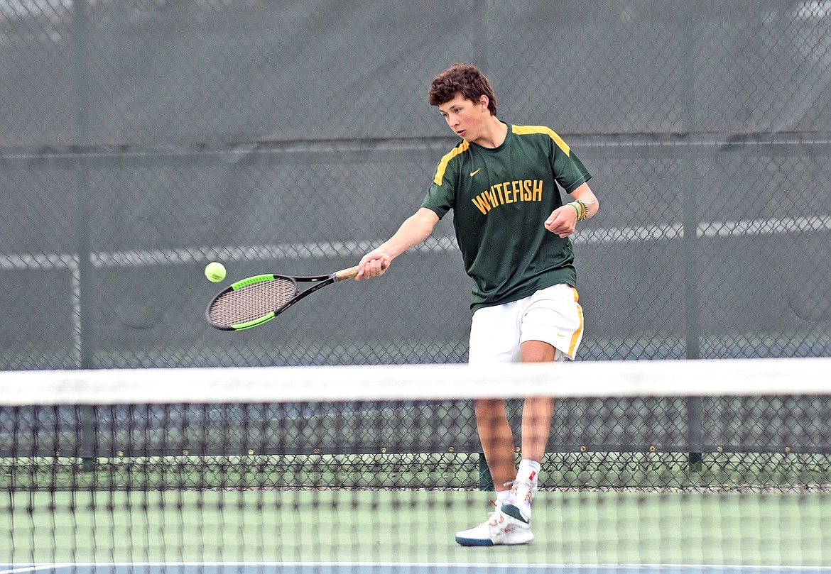 Bulldog Mason Kelch plays in a doubles match with partner Johnny Nix against Flathead on Friday at FVCC. (Whitney England/Whitefish Pilot)