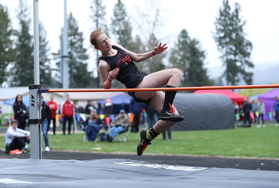 Erika Swoboda takes off in the high jump on Saturday.