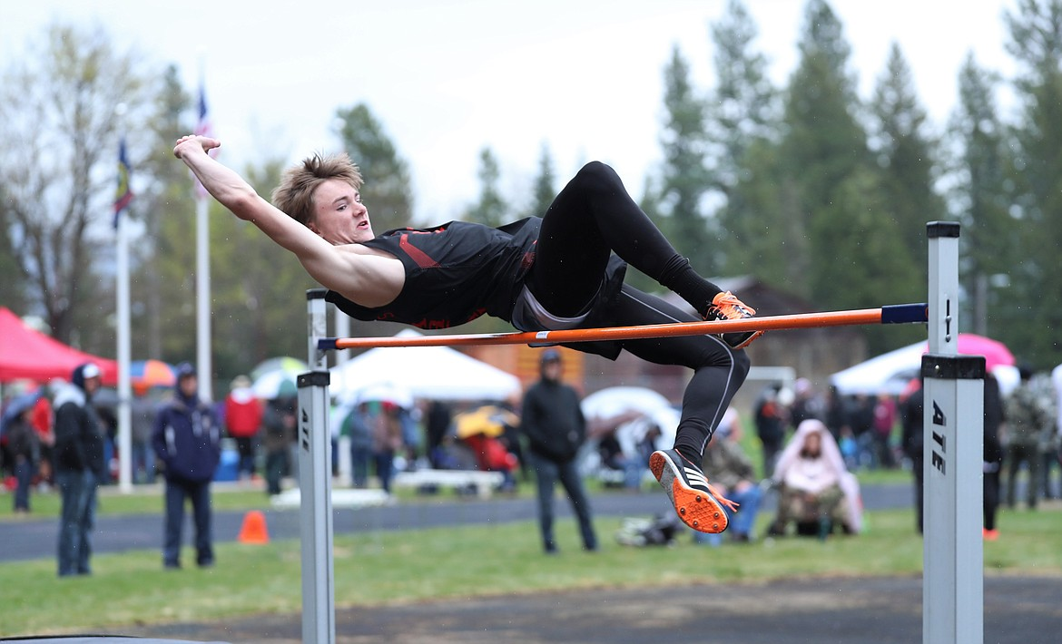 Ethan Korff competes in the high jump.