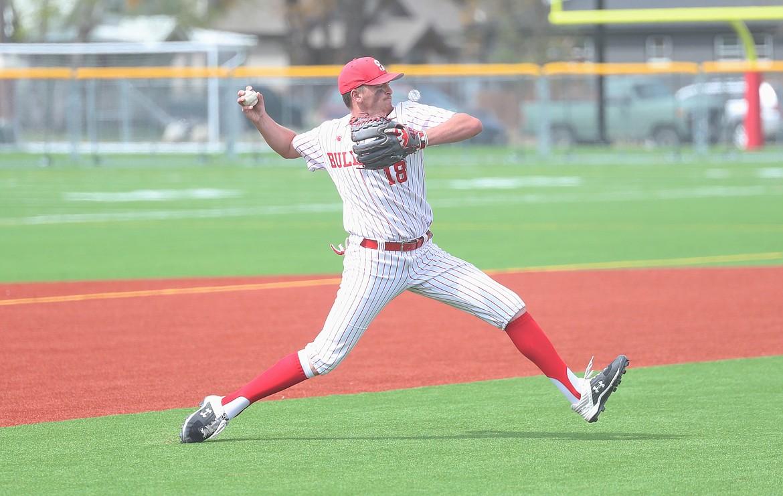Evan Williams makes a throw to first base on Thursday.