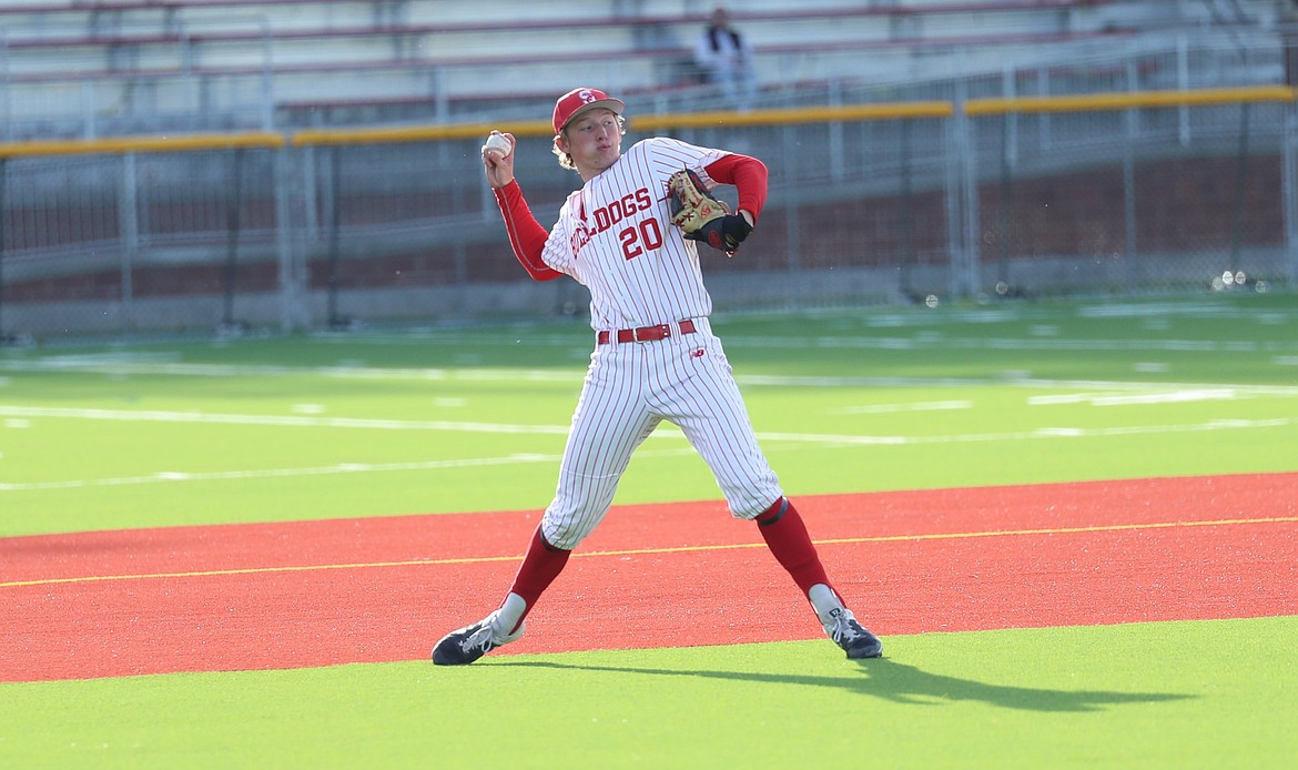 Zeke Roop throws to first on Thursday.