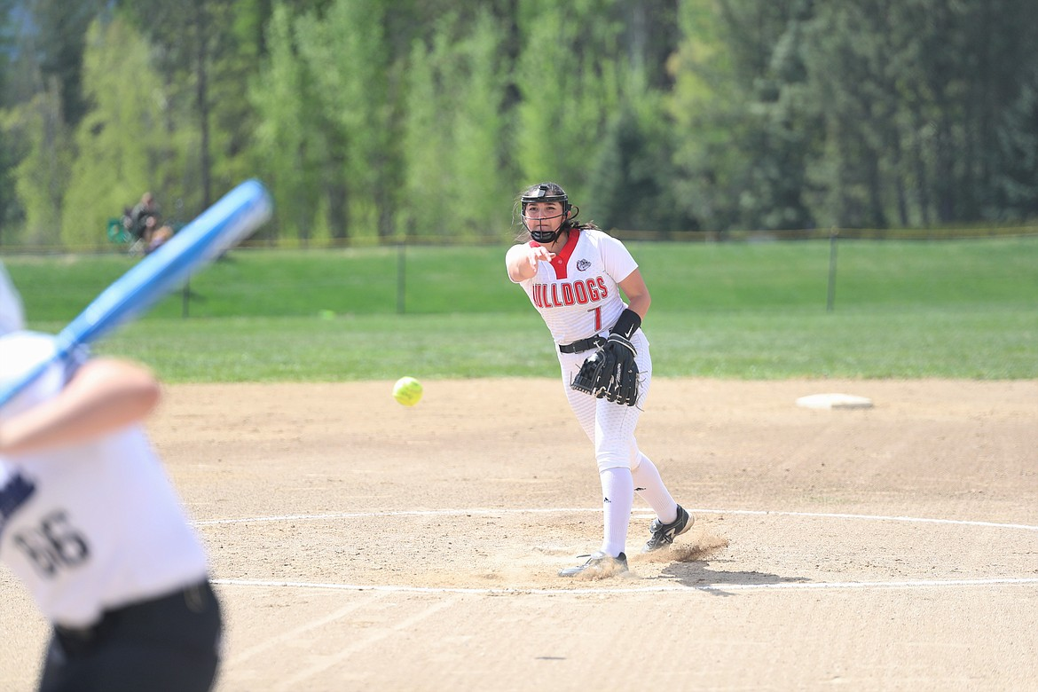 Cresanna Authier winds up to pitch on Saturday.