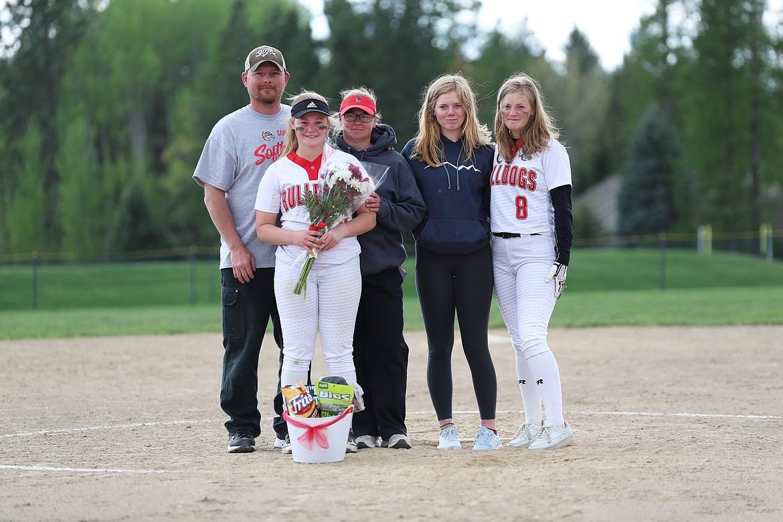 Riley Cessna celebrates Senior Night with her family.