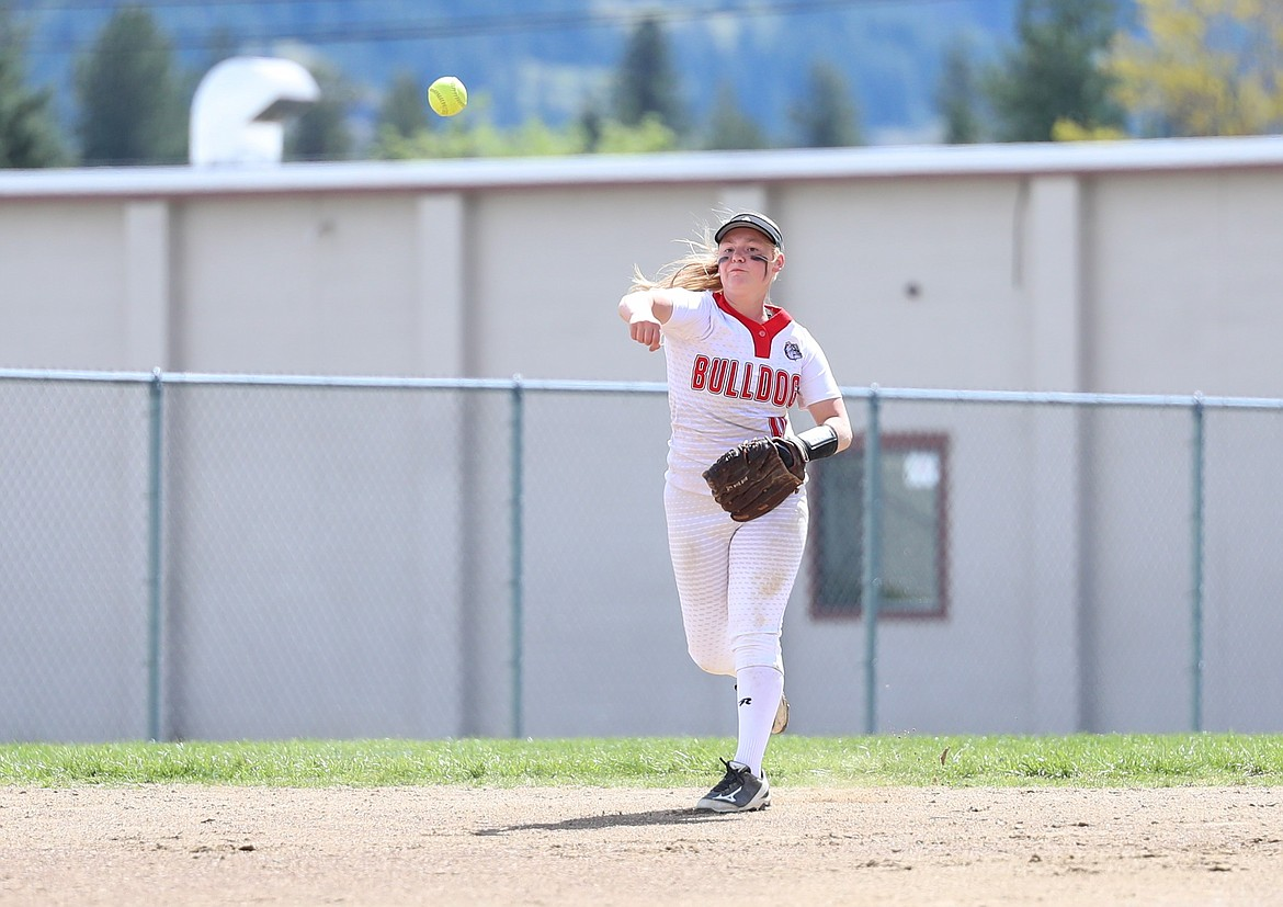 Senior Riley Cessna makes a throw to first to record an out during Saturday's game against Coeur d'Alene.