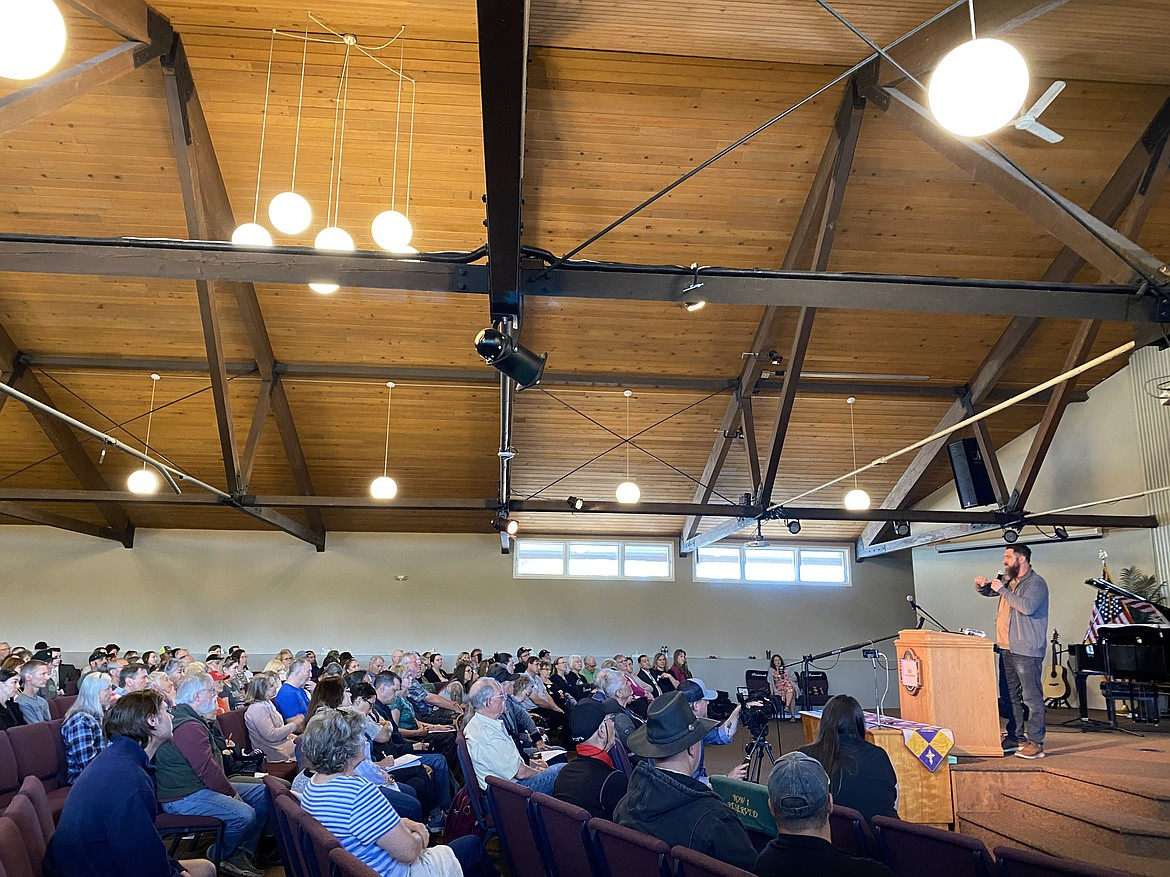 Sandpoint attorney Colton Boyles and candidate for attorney general spoke at Saturday's North Idaho Freedom Fighters event. (MADISON HARDY/Press)