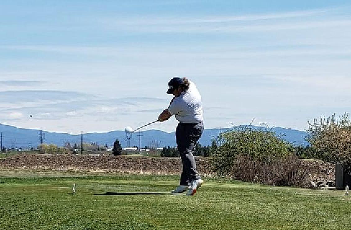 Kellogg golfer Griffey Doerschel tees off at the Wildcats' final IML match at the Links in Post Falls.