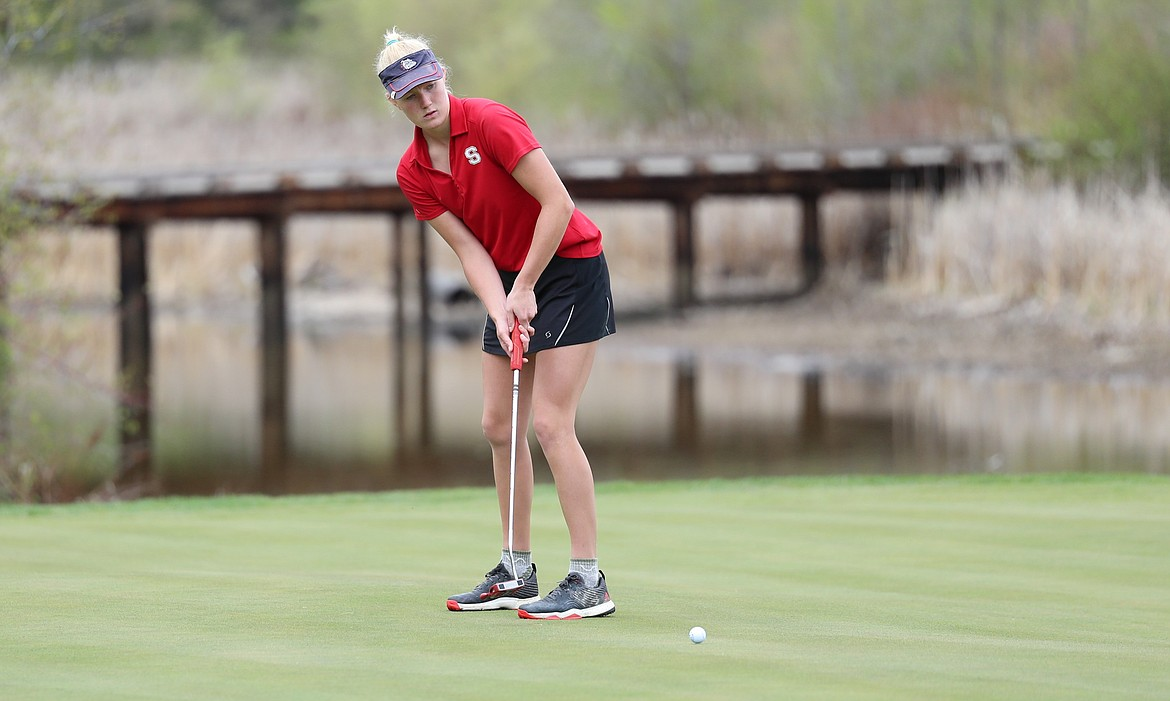 Hattie Larson hits a putt for par on hole No. 18 Monday at The Idaho Club.