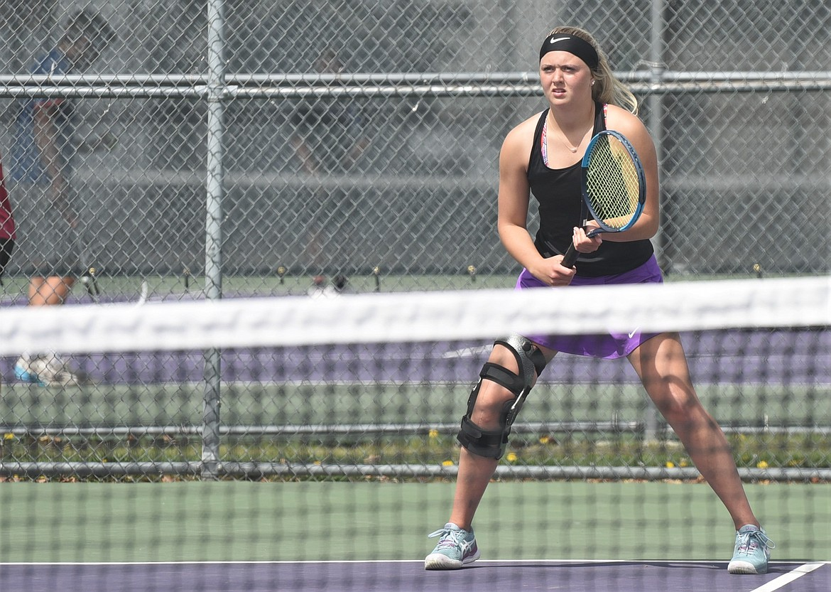 Polson's Clara Todd prepares to return a serve during a doubles match Thursday. Todd and Taylor Collinge defeated Abbey Biel and Alyssa Williams of Columbia Falls. (Scot Heisel/Lake County Leader)