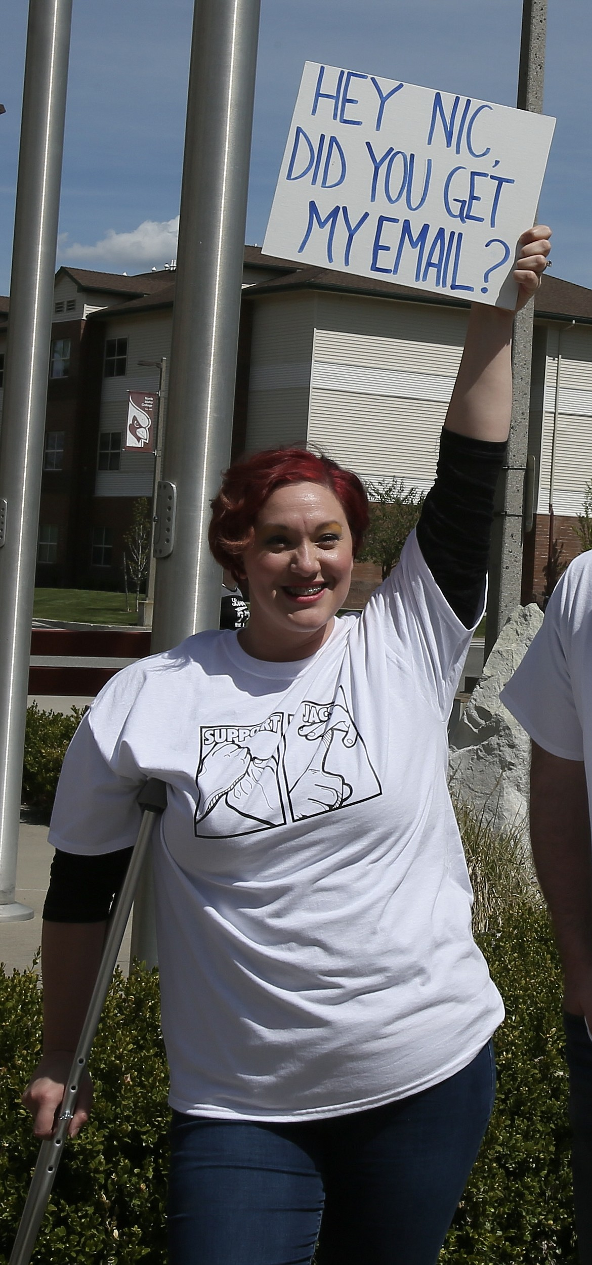 """Nina Ford, a student at North Idaho College, joined Wednesday's protest in support of the teacher she said is irreplaceable. """"There is nobody that matches Jacalyn Marosi's passion, purpose, ideals, values, teaching styles,"""" Ford said. """"She was my whole reason for being here at this school."""""""