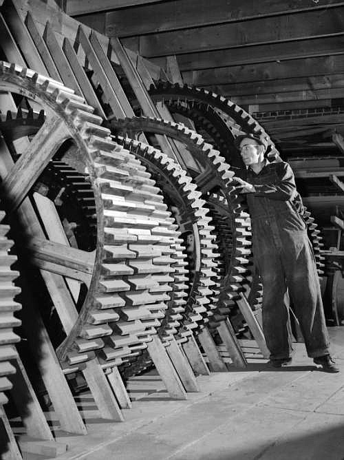 Wooden gear production guides produced using the Greenlee Variety Woodworking Machine sit in the pattern shop of the Anaconda Copper Company. (Montana State Historical Society photo)