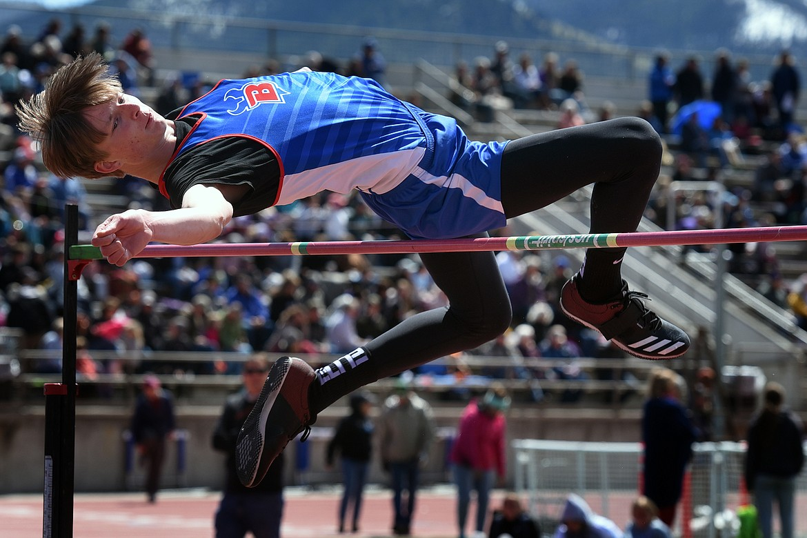 Bigfork's Wyatt Duke clears 6 feet 4 inches to win the Western B divisional high jump title at MCPS Stadium in Missoula Saturday. Jeremy Weber/Bigfork Eagle