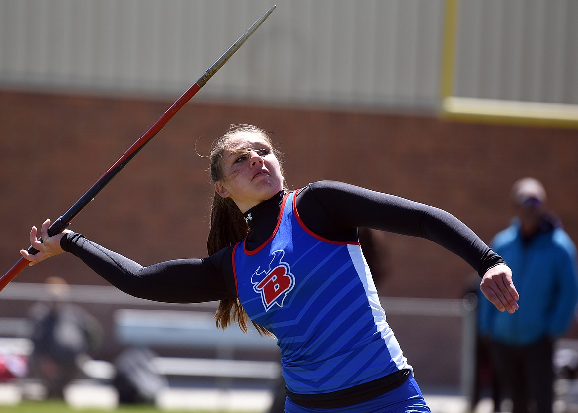 Madison Chappuis was second in the javelin at the Western B Divisional track meet in Missoula Saturday with a toss of 102 feet, 1 inch. Jeremy Weber/Bigfork Eagle