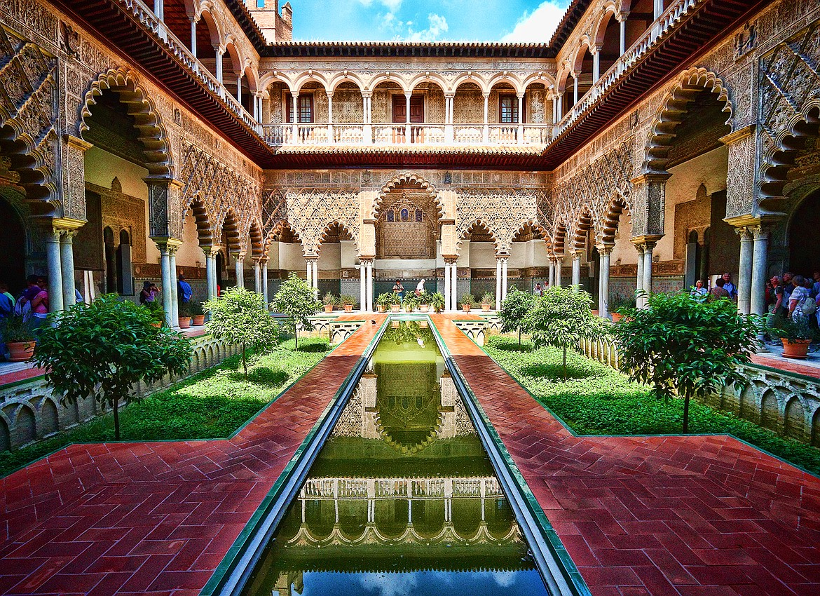 Moorish architecture of The Royal Alcázars palace of Seville in Spain.