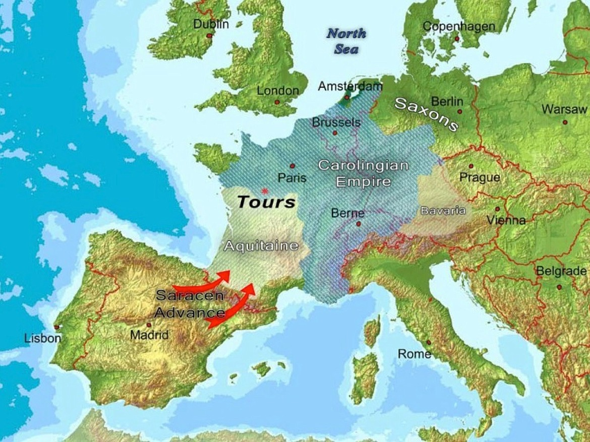 The Muslims were moving north from the Iberian Peninsula into mostly Christian Europe and they were stopped by Charles Martel at the Battle of Tours in 732 A.D., but that was not the end of the Muslim threat.