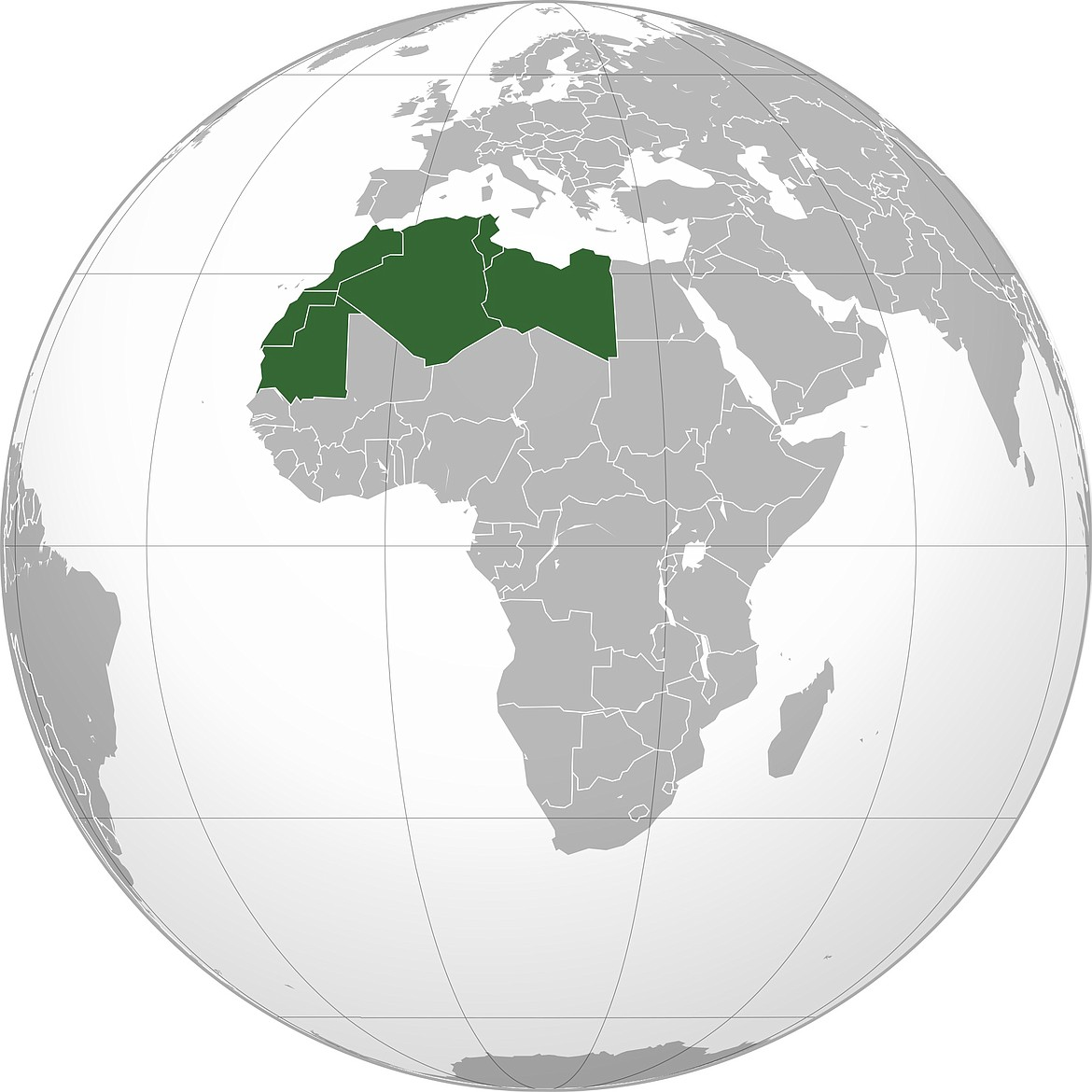Geographic region called the Maghreb, where the Moors came from, crossing the strait of Gibraltar, bringing Islam to the Iberian Peninsula in 711 A.D.