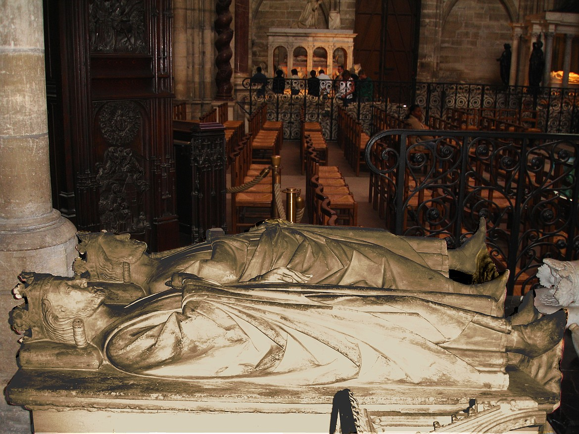 Tombs of King Clovis II of France (foreground) and Charles Martel in the Basilica of Saint-Denis in Paris.