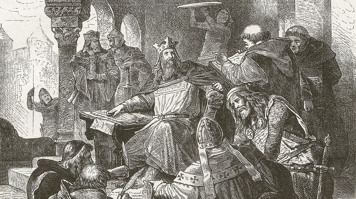 Emperor Charlemagne (742-814 A.D.), grandson of Charles Martel, was king of the Franks who founded the Holy Roman Empire, stimulated Europe's economy, political life and culture, while waging ongoing battles against competing forces — especially the Saxons — while holding the Muslims in Iberia back from reinvading Europe, north of the Pyrenees.