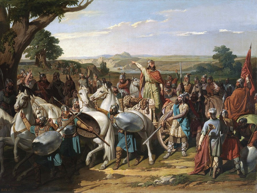 Don Rodrigo was the last king of the Visigoths, and was defeated by invading Muslims in July 711 A.D. at the Battle of Guadalete in Iberia.