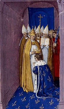 Painting of Pepin the Short (AKA Pepin the Younger), son of Charles Martel and father of Charlemagne, being reconsecrated in Paris as King of the Franks by Pope Stephen II, after Pepin agreed to protect him and the Church from the Lombards and Muslims.