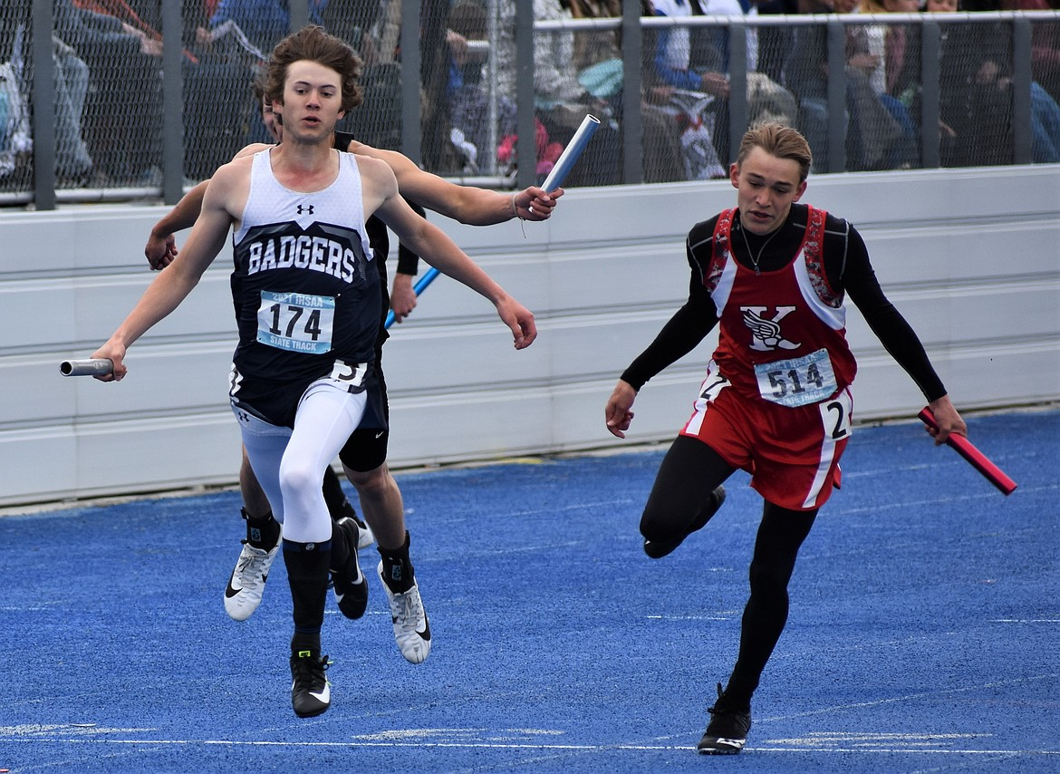 (Photo courtesy of Maureen Blackmore) Boys 4 x 200m with Hayden Stockton in the final leg of the relay 3A State taking second place
