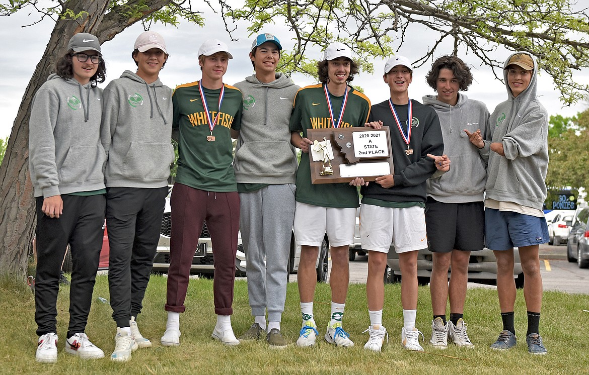 The Whitefish boys tennis team earns second place at the State A tennis tournament in Billings on Friday. (Whitney England/Whitefish Pilot)