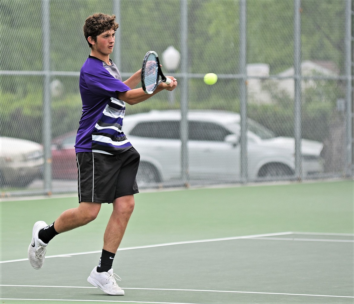 Polson senior Michael Smith (pictured) and freshman Torrin Ellis finished second at state in boys doubles. (Whitney England/Whitefish Pilot)