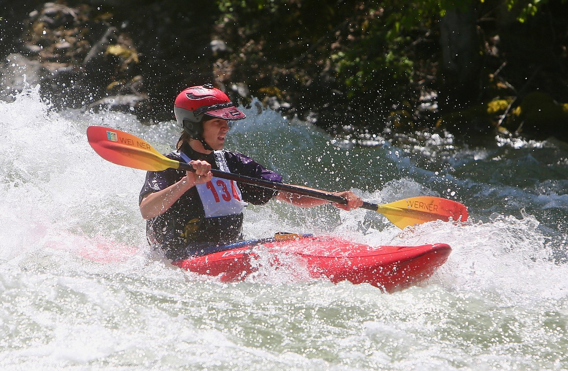 A competitor races through a patch of whitewater along the Wild Mile at the Bigfork Whitewater Festival on Saturday, May 29. Mackenzie Reiss/Bigfork Eagle