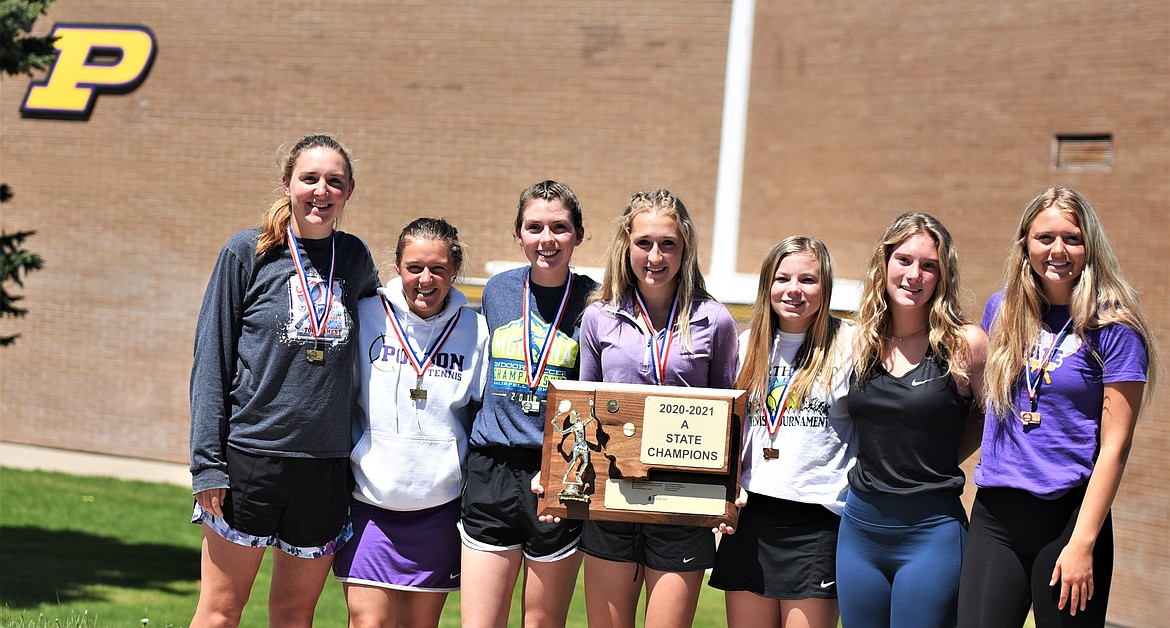 The Polson girls captured the team title at the state tennis tournament in Billings. Pictured, from left, are Qia Harlan, Berkley Ellis, Megan Rost, Ara Mercer, Taylor Collinge, Sierra Lundeen and Clara Todd. Harlan and Ellis are also Class A girls doubles state champions. (Scot Heisel/Lake County Leader)