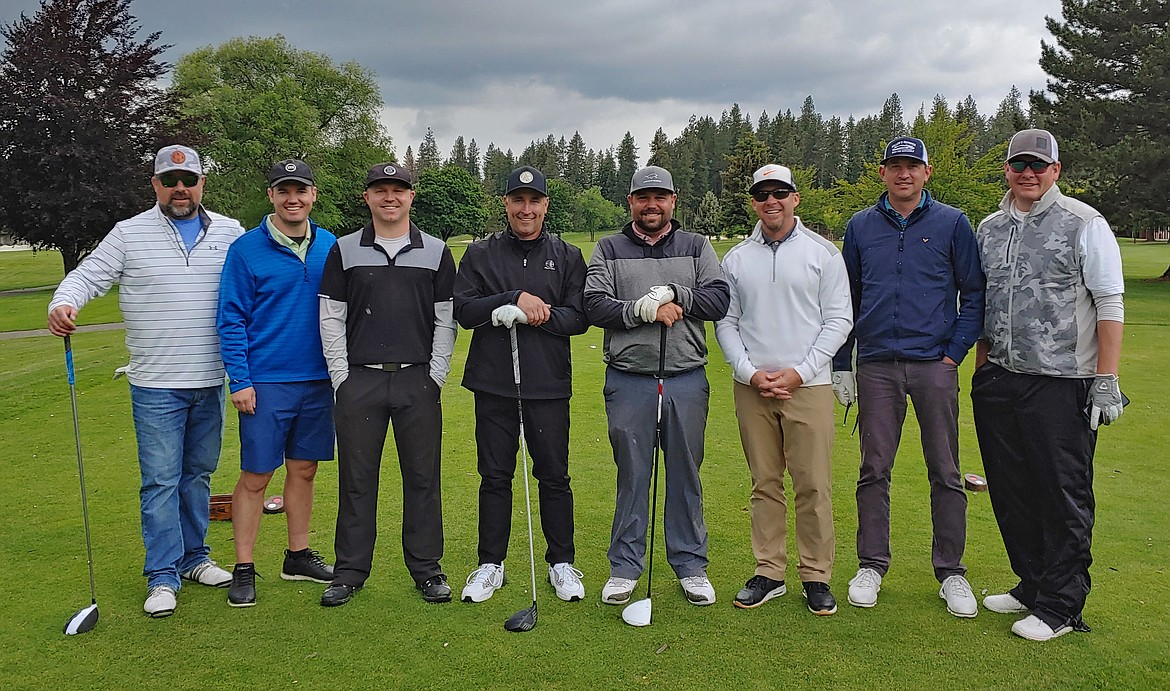 The gentlemen who founded the COV'AIDE Invitational have changed the name to the Coeur54 and have invited friends to double the fun to play for two local nonprofits this year on Tuesday. From left: Dustin Ainsworth, Taylor Fore (not playing this year), Danny Beutler, Jason Kelly, Scott Kramer, Ryan Deschryver, Mike Schwagler and Greg Rowley.
