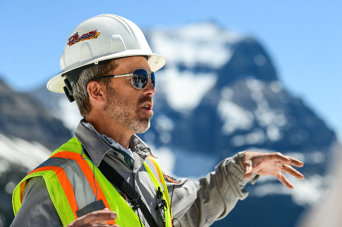 Christian Tranel, work leader with the Glacier National Park roads crew, answers questions during a media tour of the snow removal process at Logan Pass on Wednesday, June 2, 2021. (Casey Kreider/Daily Inter Lake)