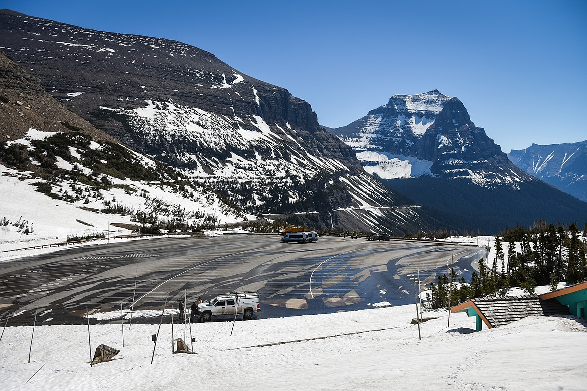 The Logan Pass parking lot is seen during a media tour of the snow removal process at Logan Pass in Glacier National Park on Wednesday, June 2, 2021. (Casey Kreider/Daily Inter Lake)