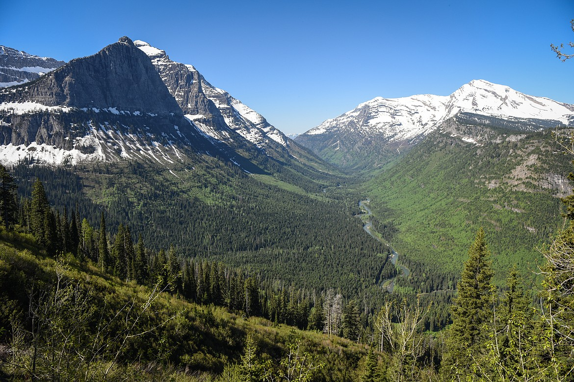 The McDonald Creek valley is viewed from the Going-to-the-Sun Road in Glacier National Park on Wednesday, June 2, 2021. (Casey Kreider/Daily Inter Lake)