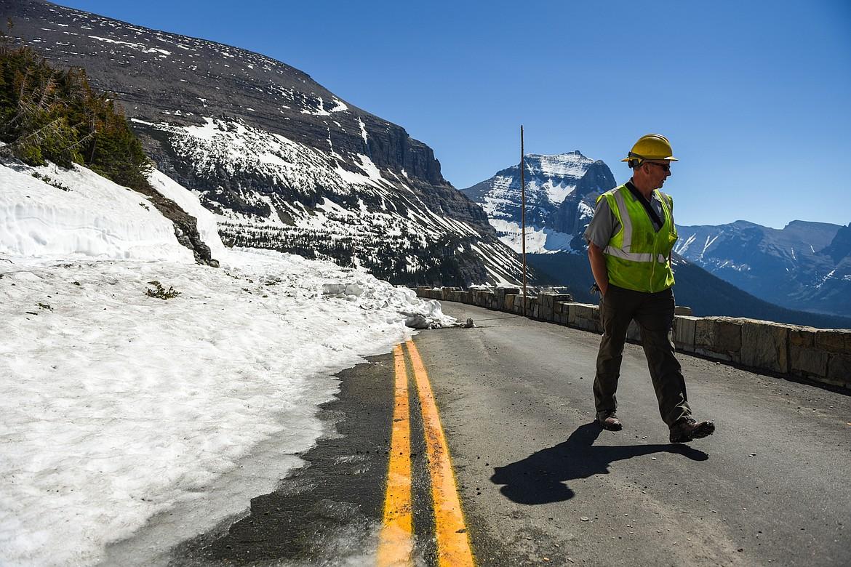 Glacier National Park Road Supervisor Brian Paul walks along the Going-to-the-Sun Road near Logan Pass in Glacier National Park on Wednesday, June 2, 2021. (Casey Kreider/Daily Inter Lake)