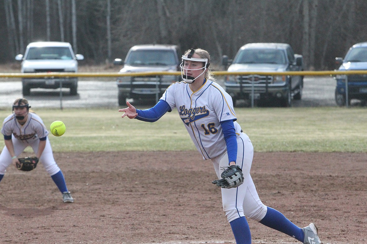 Taylor Munro launches a pitch during an April game against Eureka. (Will Langhorne/The Western News)